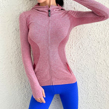 Load image into Gallery viewer, Women Sport Jacket Zipper Yoga Coat Clothes Quick Dry Fitness Jacket Running Hoodies Thumb Hole Sportwear Gym Workout Hooded Top