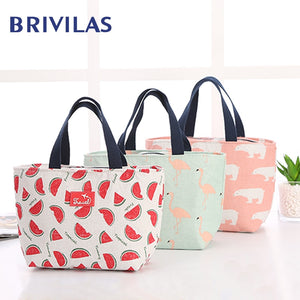 Brivilas lunch bag  for women funny cartoon kids bento cooler bags flamingo thermal breakfast food box portable picnic travel
