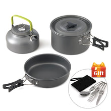 Load image into Gallery viewer, Camping Cooking set - Ultra-light Aluminum Alloy Camping Cookware Utensils Outdoor Cooking Teapot Picnic Tableware Kettle Pot Frying Pan 3pcs/Set