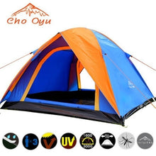 Load image into Gallery viewer, 3-4 Person Windbreak Camping Tent Dual Layer Waterproof Anti UV Tourist Tents for Fishing Hiking Beach Travel 4 Season Tent