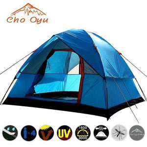 3-4 Person Windbreak Camping Tent Dual Layer Waterproof Anti UV Tourist Tents for Fishing Hiking Beach Travel 4 Season Tent
