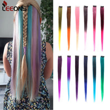 "Load image into Gallery viewer, Leeons Colored Highlight Synthetic Hair Extensions Clip In One Piece Color Strips 20"" Long Straight Hairpiece For Sports Fans"