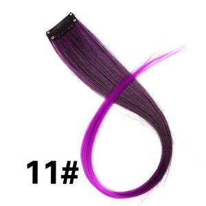 "Leeons Colored Highlight Synthetic Hair Extensions Clip In One Piece Color Strips 20"" Long Straight Hairpiece For Sports Fans"