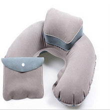 Load image into Gallery viewer, New Portable U Shape Air Inflatable Travel Pillow  Support Flocking PVC Neck Pillow for Airplane Travel Office Home Sleep
