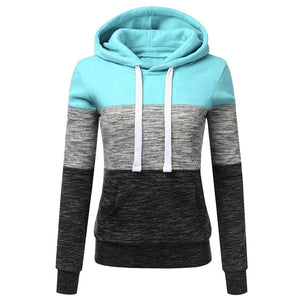Patchwork Hoodies Sweatshirts Women Casual Pullover Tops  Jumper Hooded Sweatshirt Female Hoodie Sudadera Plus Size S-5XL