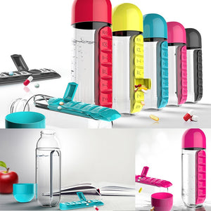 600 ML Water Bottles Plastic Drink Bottle With Pill Travel Box Organizer Drinking My Drinkware Coffee & Tea Tools . hydro flask