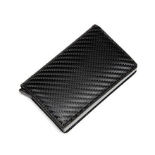 Load image into Gallery viewer, Men Automatic Credit card holder carbon fiber Leather Wallet Aluminum Mini Wallet With Back Pocket ID Card RFID Blocking purse