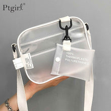Load image into Gallery viewer, Causual PVC Transparent Clear Woman Crossbody Bags Shoulder Bag Handbag Ptgir Small Phone Bags with Card Holder Wide Straps Flap