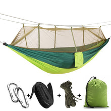 Load image into Gallery viewer, 1-2 Person Portable Outdoor Camping Hammock with Mosquito Net High Strength Parachute Fabric Hanging Bed Hunting Sleeping Swing