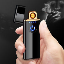 Load image into Gallery viewer, Charging lighter Touch induction windproof electronic ultra-thin USB cigarette lighter custom Metal