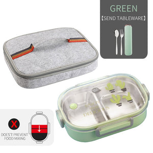 WORTHBUY Japanese Lunch Box With Compartment 304 Stainless Steel Bento Box For Kids School Food Container Leak-proof Food Box