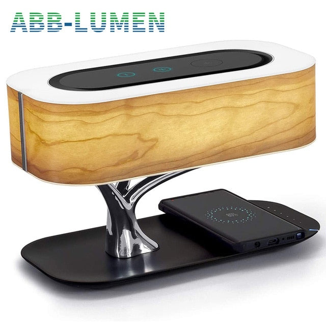 Lamp shade tree light with Bluetooth speaker and wireless charger