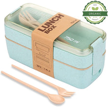 Load image into Gallery viewer, Health Material 3 Layers Lunch Box Microwavable Japanese Bento Food Container Eco-Friendly Wheat Straw 900ml Lunchbox