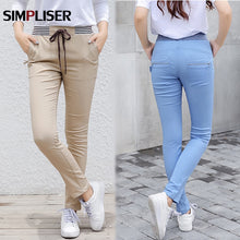 Load image into Gallery viewer, Women Casual Harem Pants Plus Size Black Blue Khaki Sweatpants Cargo Pants Elastic Waist track Trousers Ladies Pencil pants 2020