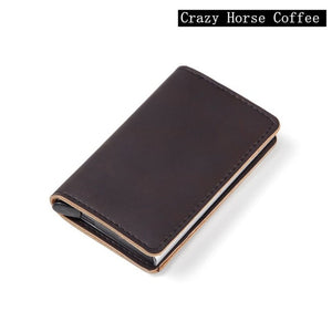 Men Automatic Credit card holder carbon fiber Leather Wallet Aluminum Mini Wallet With Back Pocket ID Card RFID Blocking purse