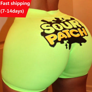Women Shorts Bright Color Summer Funny Print Shorts Women High Waist Stretch Hot Casual Biker Shorts Sexy Slim Short Pants Femme
