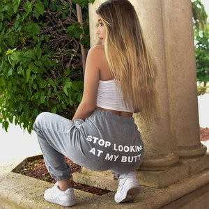 Stop Looking At My Dick Sweatpants Women 2020 Print Sweat Pants Women Casual Trousers Women Hippie Track Pants Joggers