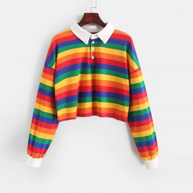 2020 Polo Shirt Women Sweatshirt Long Sleeve Rainbow Color Ladies Hoodies With Button Striped Sweatshirt Women