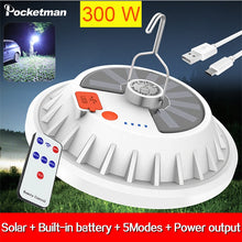 Load image into Gallery viewer, 300W Rechargeable LED Bulb Lamp Remote Control Solar Charge Lantern Portable Emergency Night Market Light Outdoor Camping Home