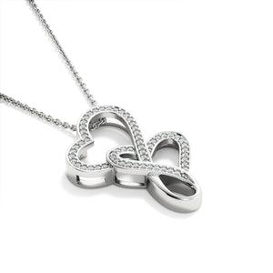 "Girlfriend PERSONALIZED ""Double Heart"" Necklace (art 16)"
