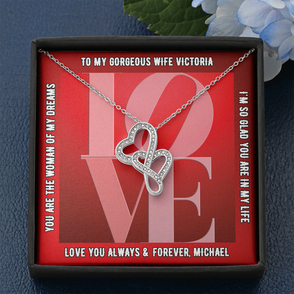 "Wife PERSONALIZED ""Double Heart"" Necklace (art 16)"