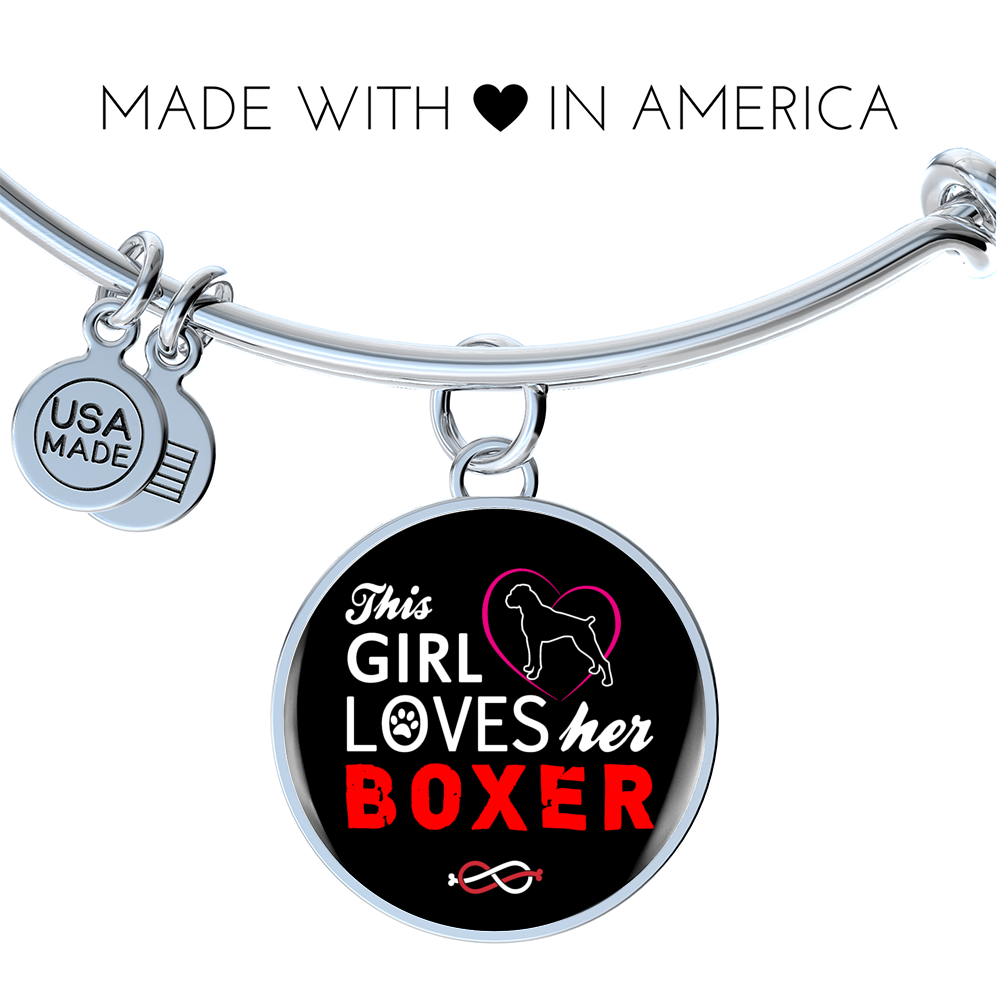 """This Girl Loves Her Boxer"" Luxury Circle Adjustable Bangle with Engraving (style 1)"