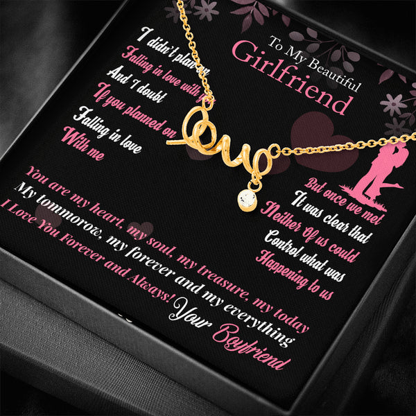"To My Girlfriend ""Scripted LOVE"" Necklace (style 1)"