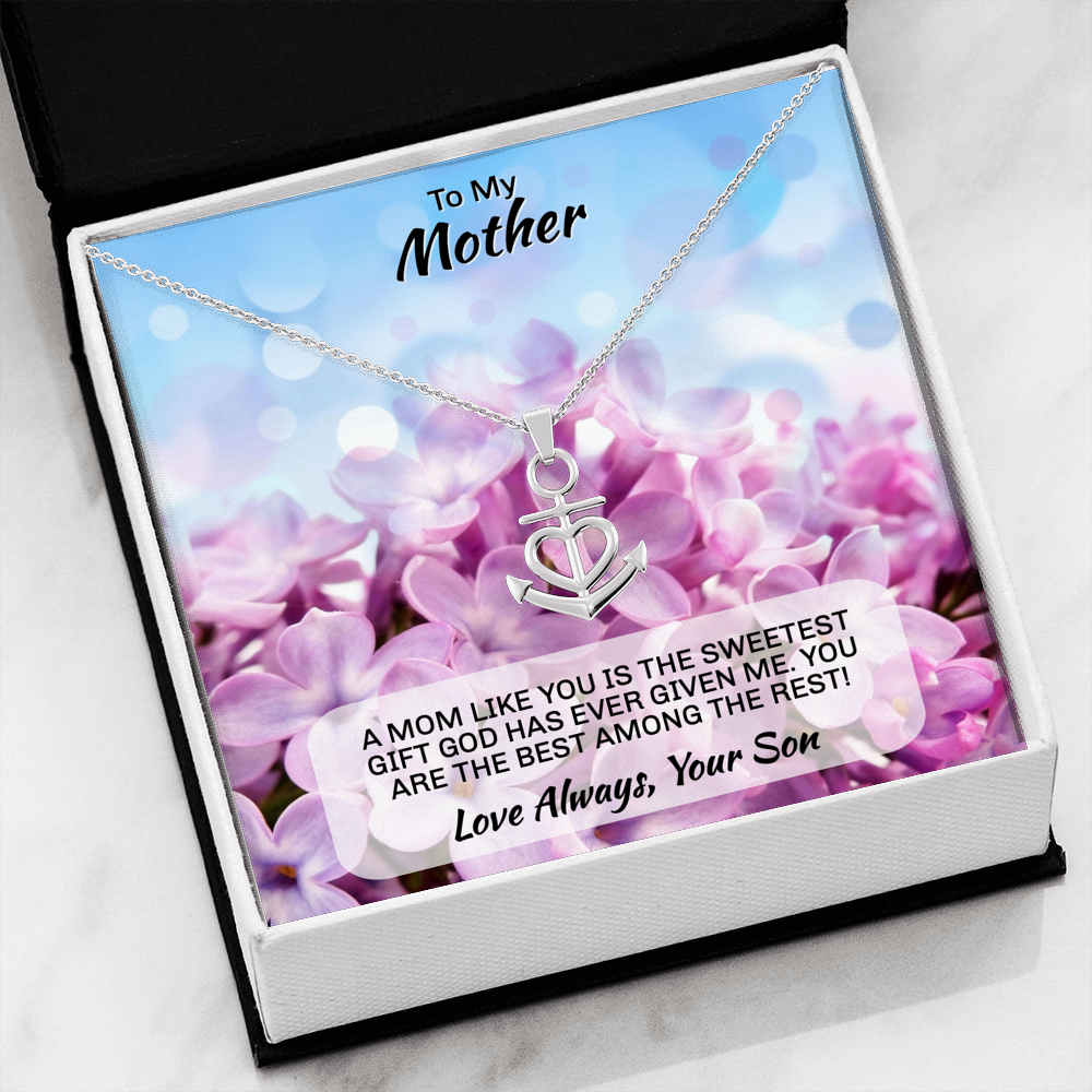 Son To Mom gift Anchor Necklace