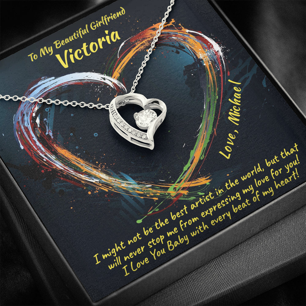 "Girlfriend PERSONALIZED ""Forever LOVE"" Necklace (art 17)"