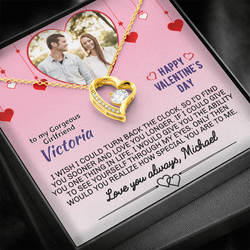 "Girlfriend Valentine's PERSONALIZED ""Forever LOVE"" Necklace (art 21)"