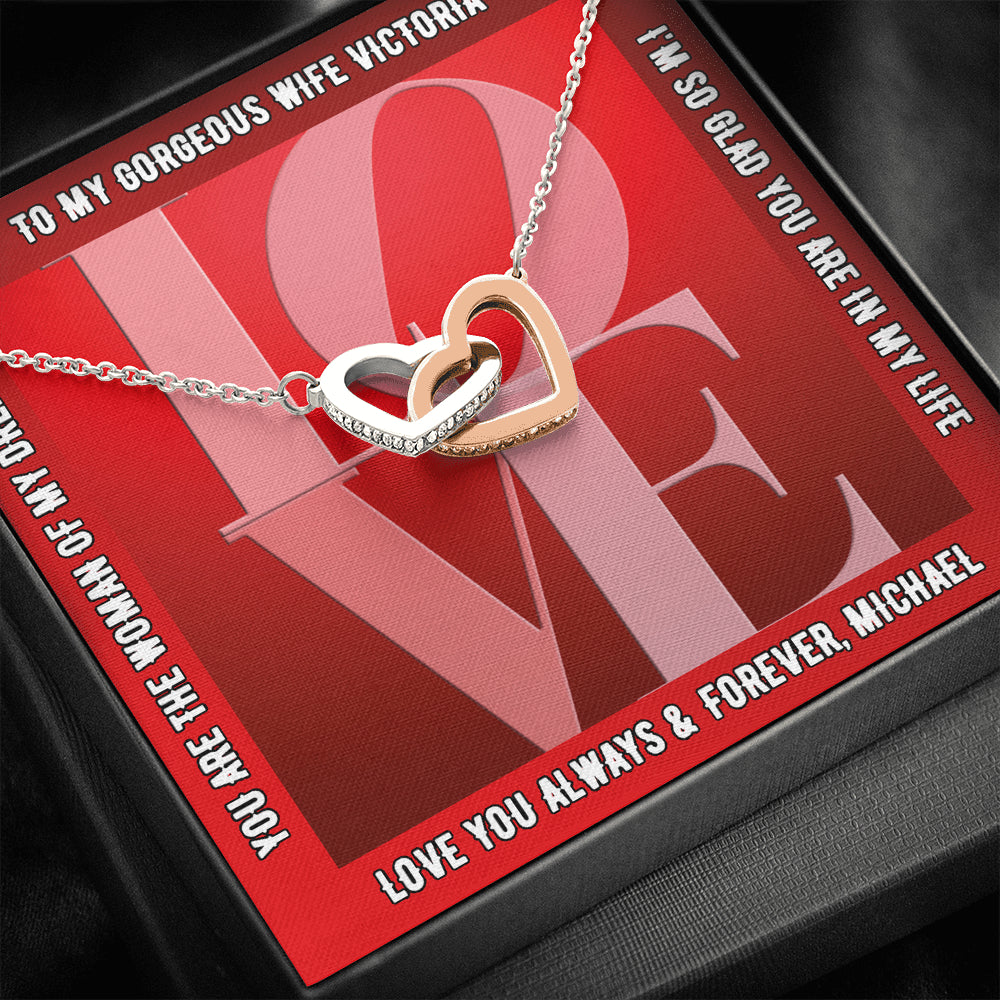 "Wife PERSONALIZED ""Interlocking Hearts"" Necklace (art 16)"
