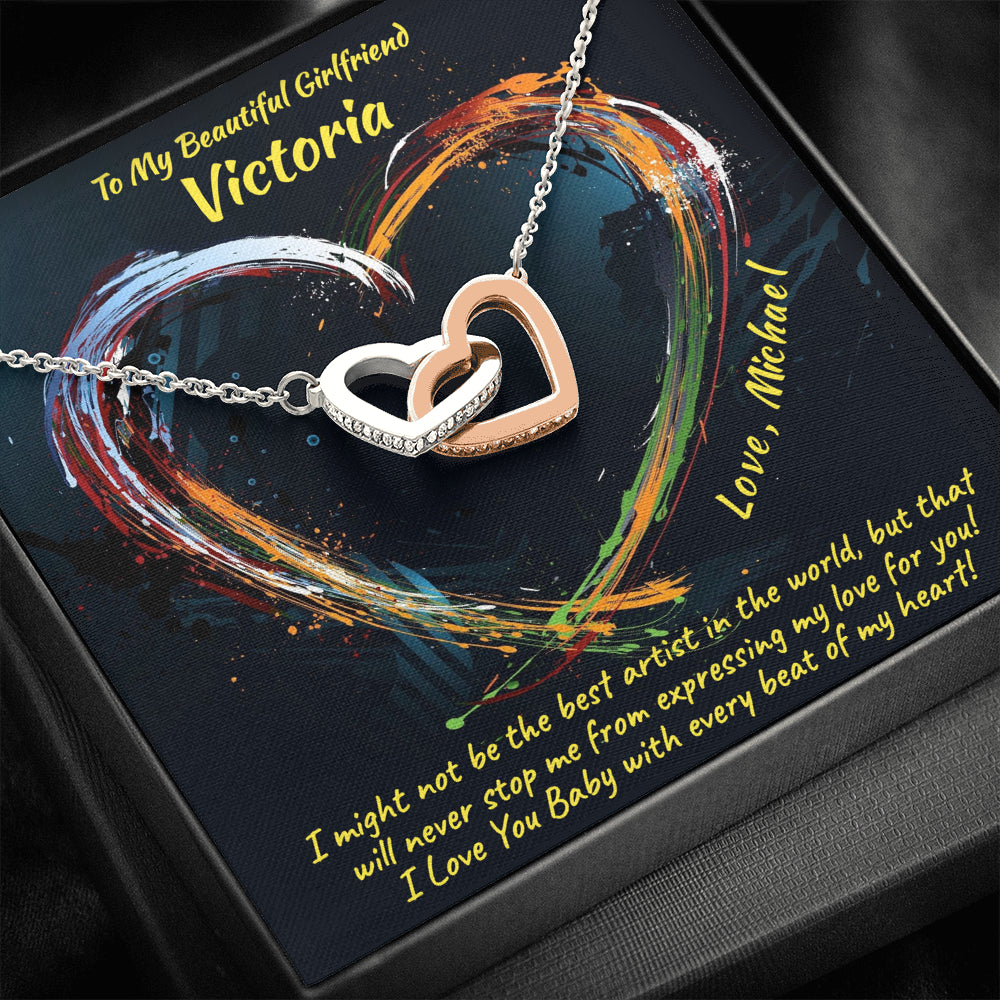 "Girlfriend PERSONALIZED ""Interlocking Hearts"" Necklace (art 17)"
