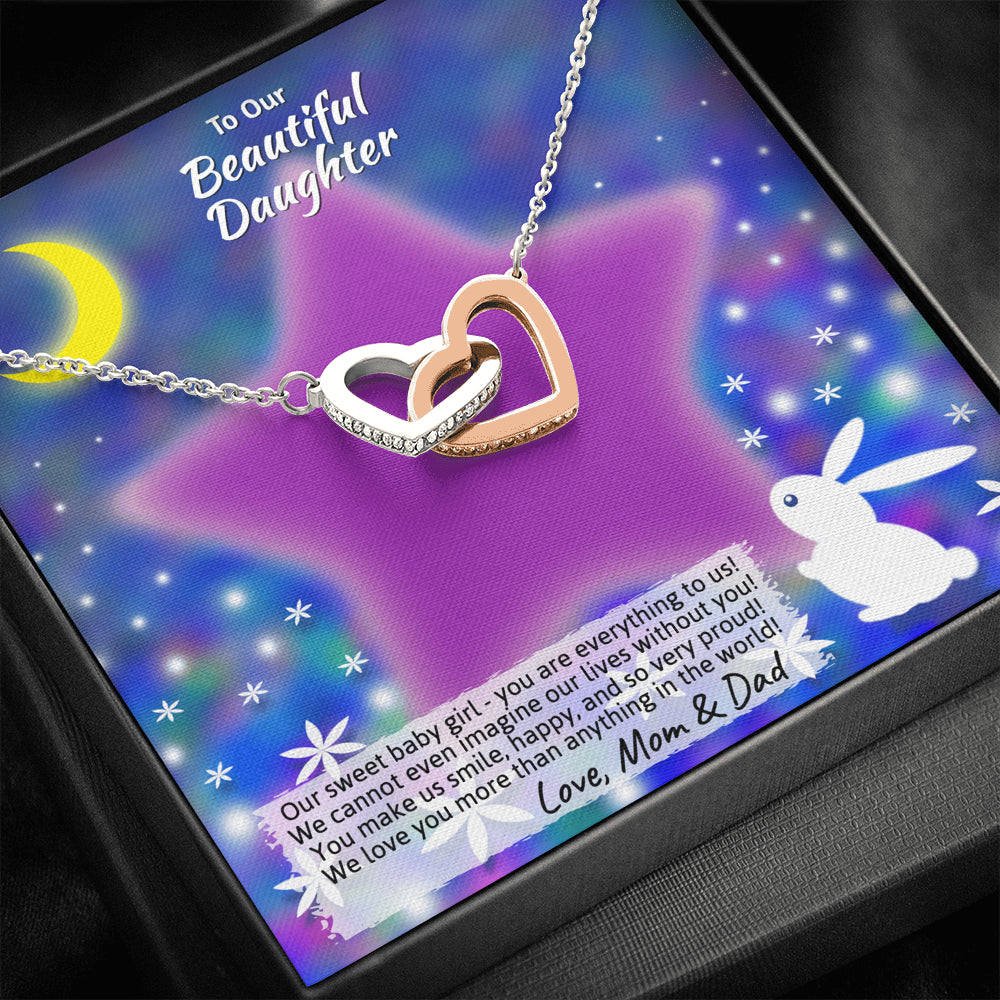 "Young Daughter ""Interlocking Hearts"" Necklace (art 20)"