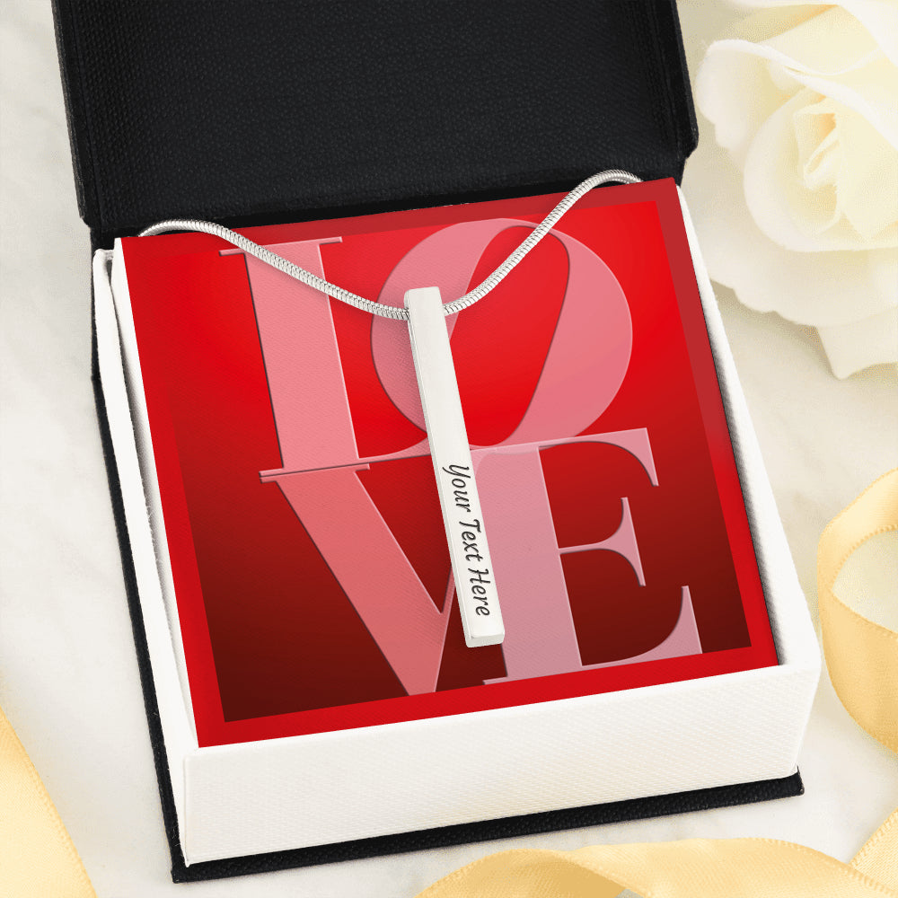 "Luxury 4-Sides Engraved ""LOVE"" Vertical Stick Necklace"