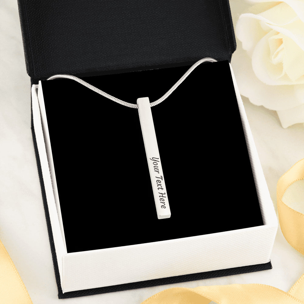 Luxury 4-Sides Engraved Vertical Stick Necklace