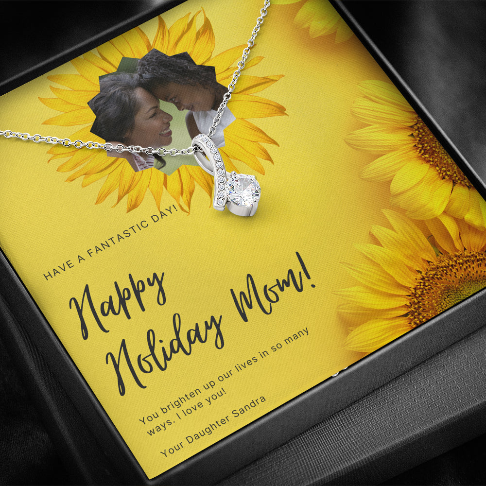 "Mother gift ""Alluring Beauty"" Necklace with CUSTOMIZABLE greeting card (art 35)"
