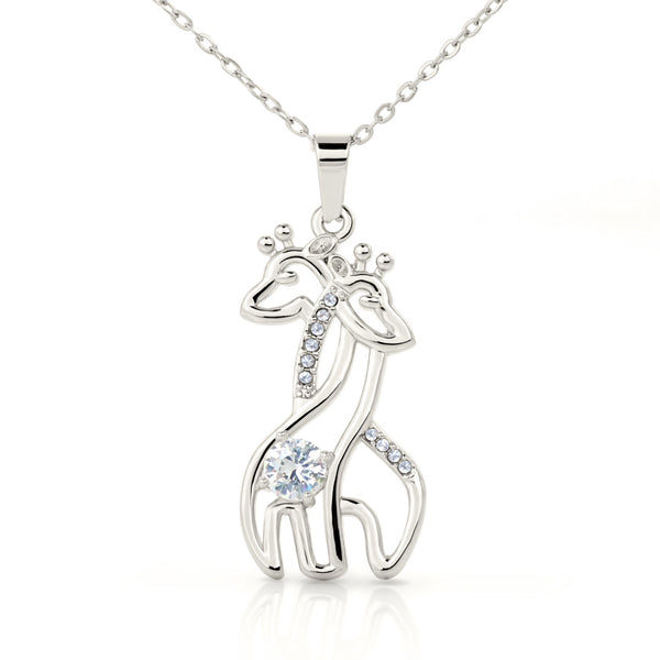 """I Love and Adore You"" Graceful Love Giraffe Necklace"