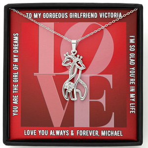 "Girlfriend PERSONALIZED ""Graceful Love Giraffe"" Necklace (art 16)"
