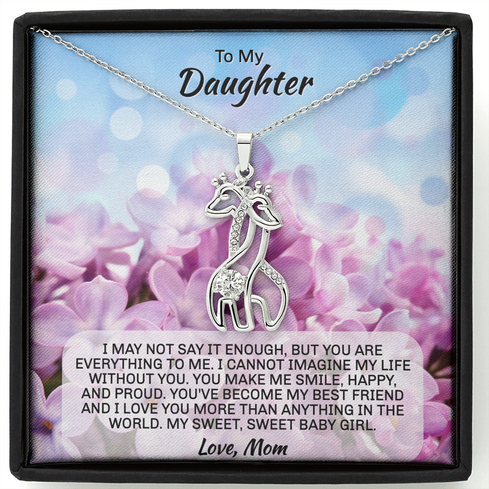 "Mom To Daughter gift ""Graceful Love Giraffe"" Necklace (style 1)"