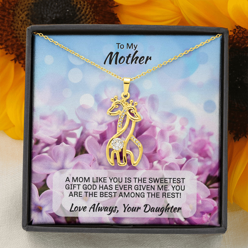 "Daughter To Mom ""Graceful Love Giraffe"" Necklace (art 1)"