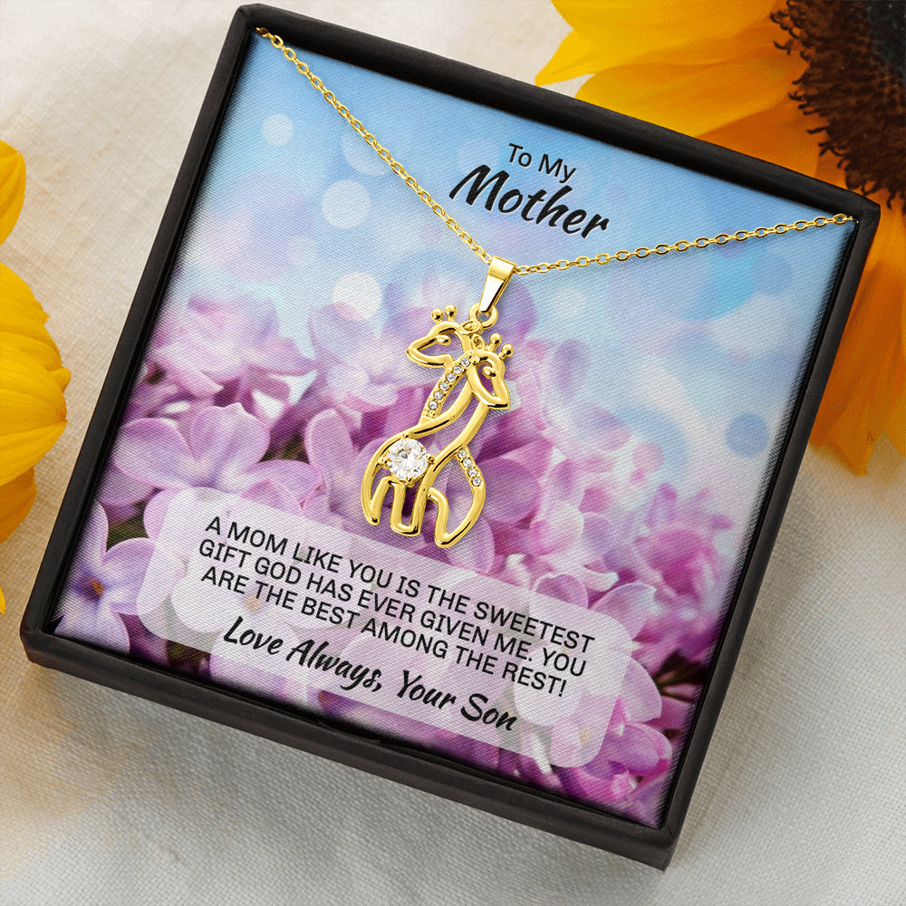"Son To Mom gift ""Graceful Love Giraffe"" Necklace (style 1)"