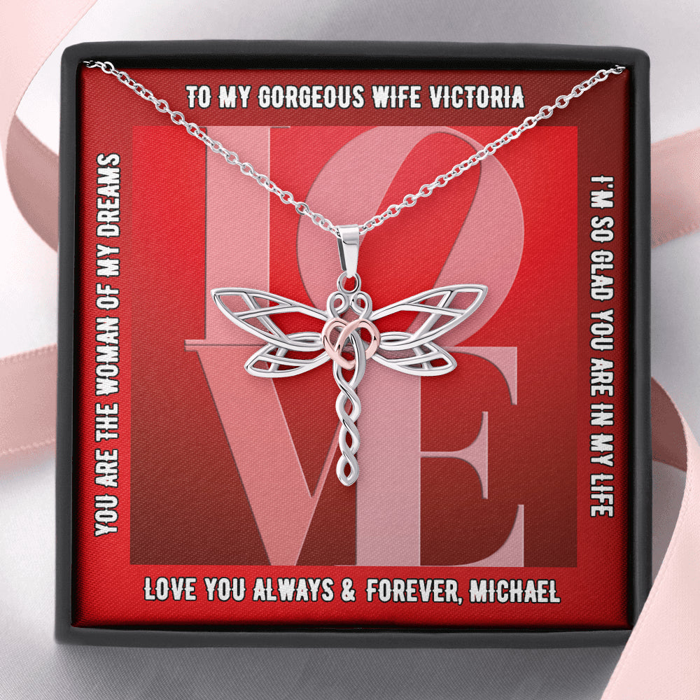 "Wife PERSONALIZED ""Dragonfly Dreams"" Necklace (style 16)"