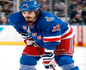 Brian Boyle of the New York Rangers with the Guy Fawkes look
