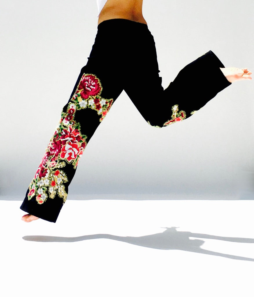 Cherry Blossom Black Trouser Jeans