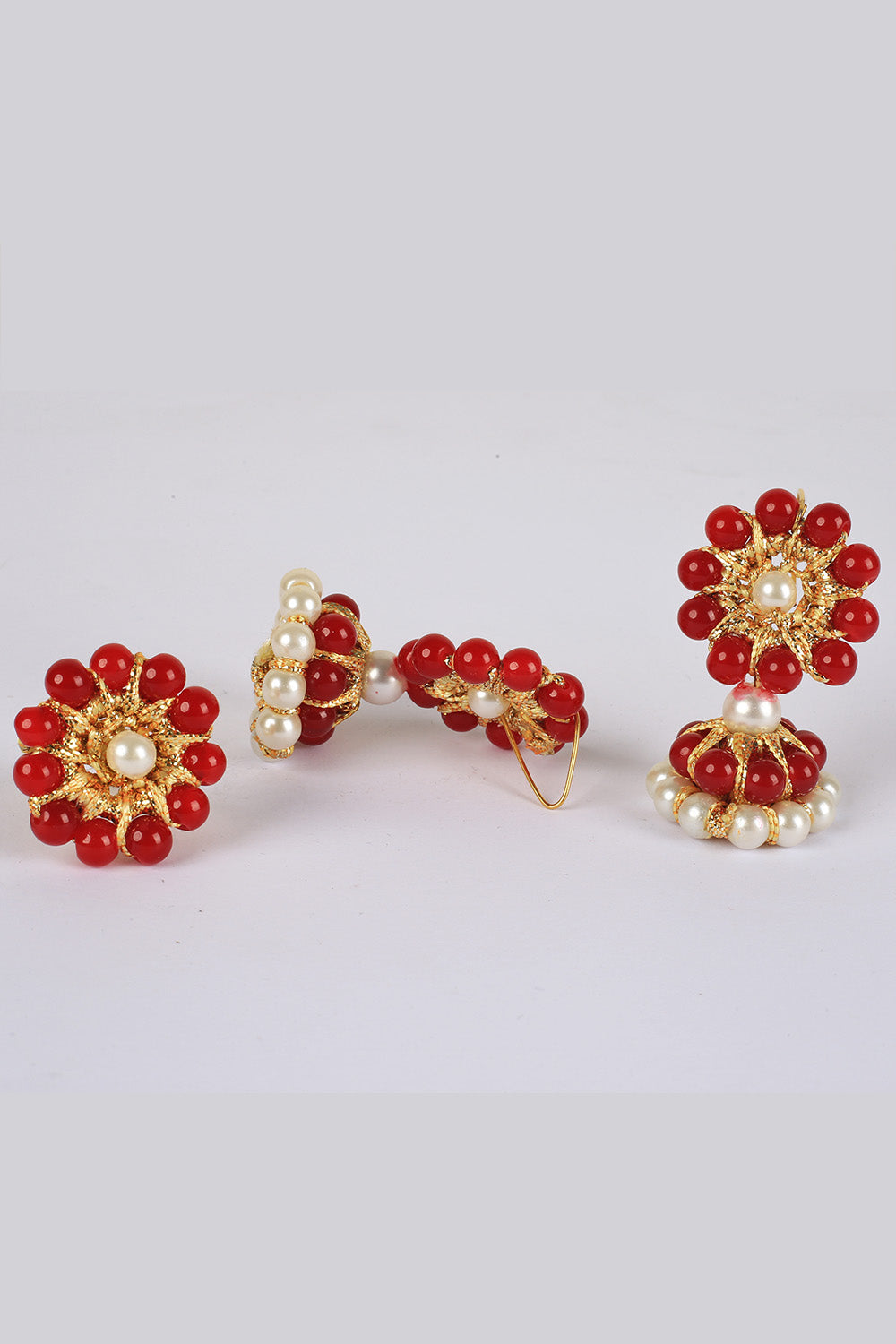 Red Pearl Earrings and Ring