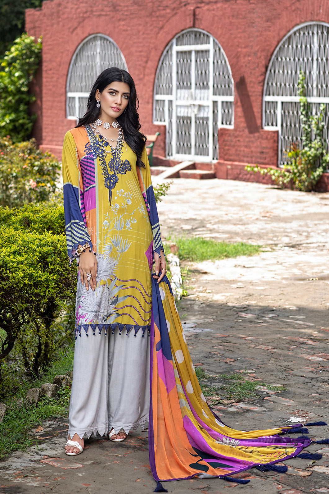Linen Embroidered Suit