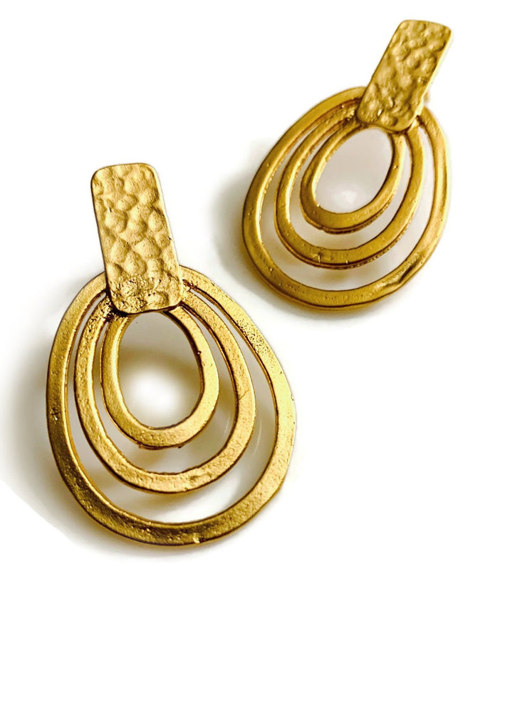 Full Circle 22k Gold Loop Post Earrings