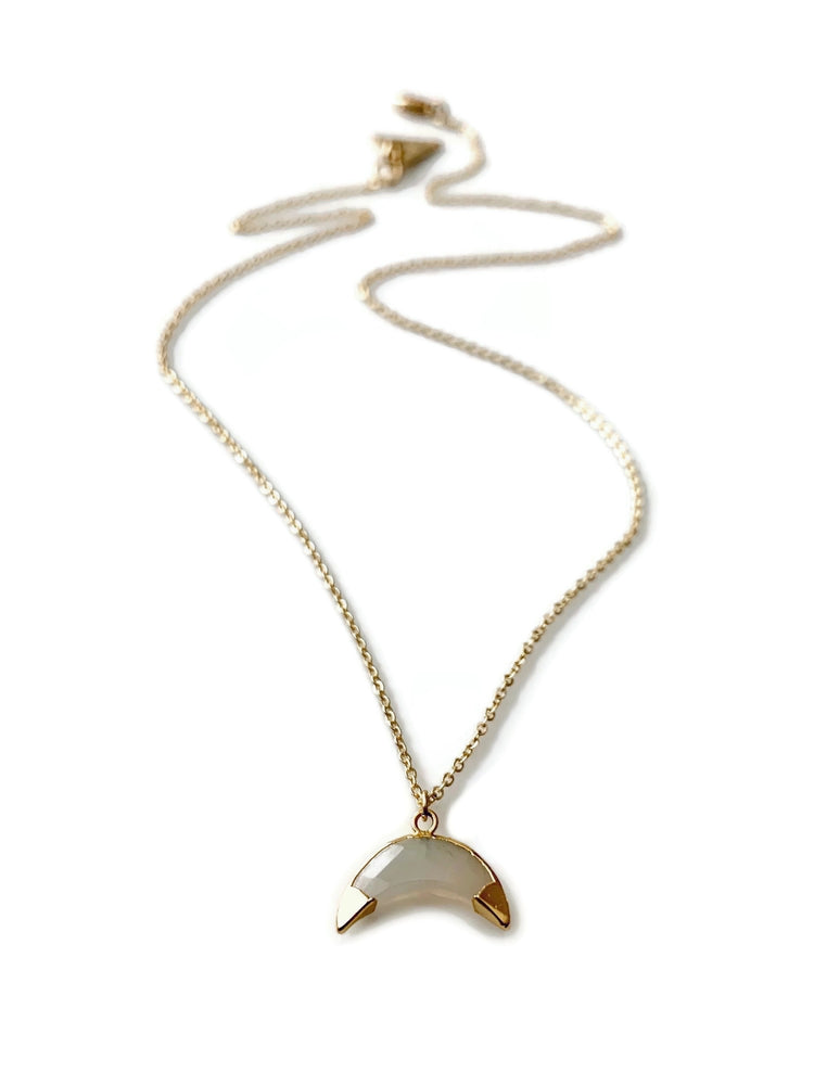 18k Gold Mystic Chalcedony Moon Necklace