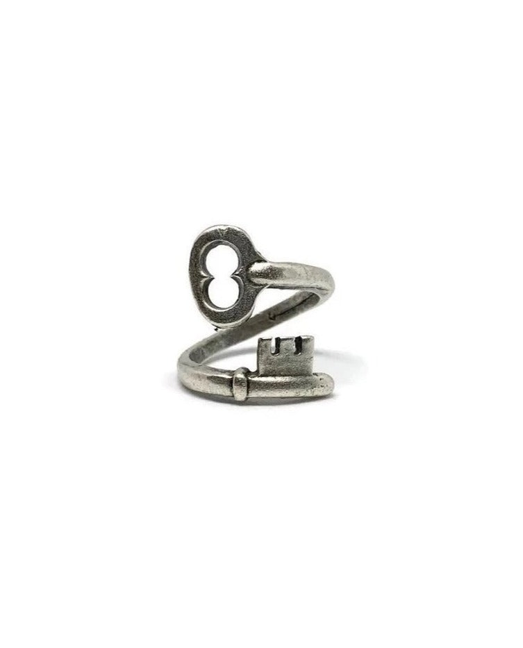 Silver Lock and Key Adjustable Ring