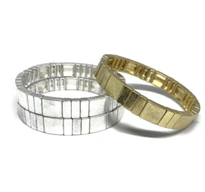 Square Linked Metal Stretch Bracelet - gold or silver